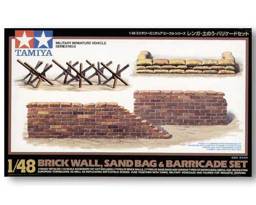 Tamiya 32508 Brick Wall, Sand Bag & Barricade Set