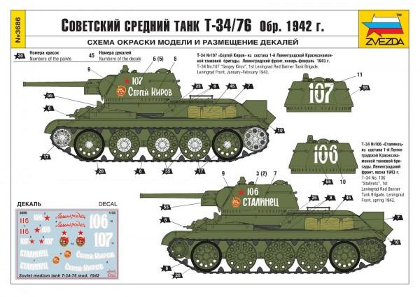 Цветная инструкция к танку Т-34/76 обр. 1942 г.